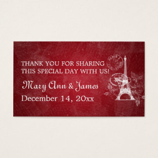 Elegant Wedding Favor Tag Romantic Paris Red Business Card