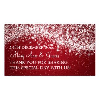 Elegant Wedding Favor Tag Sparkling Wave Red Business Card