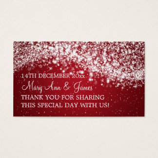Elegant Wedding Favor Tag Sparkling Wave Red Business Card