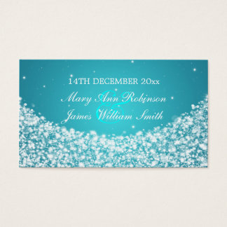 Elegant Wedding Favor Tag Star Sparkle Blue Business Card