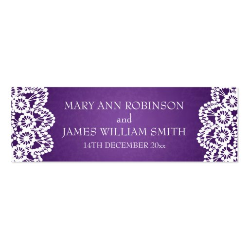 Elegant Wedding Favor Tag Vintage Lace Purple Business Card Templates