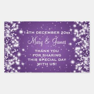 Elegant Wedding Favor Tag Winter Sparkle Purple