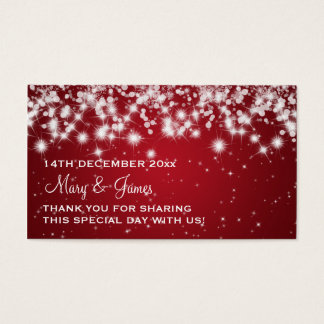 Elegant Wedding Favor Tag Winter Sparkle Red Business Card
