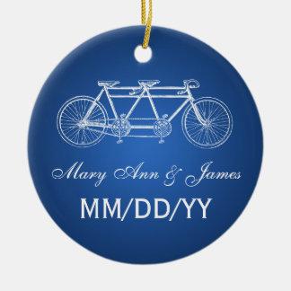 Elegant Wedding Favor Tandem Bike Blue Round Ceramic Ornament