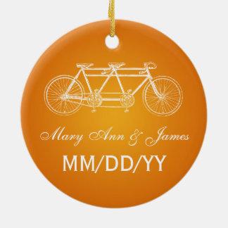 Elegant Wedding Favor Tandem Bike Orange Round Ceramic Ornament