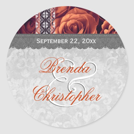 Elegant Wedding Favour ORANGE Roses and Lace V09 Classic Round Sticker
