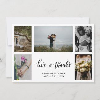 Elegant Wedding Five Photos | Love & Thanks Script Thank You Card