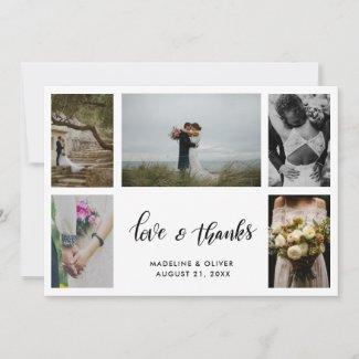 Elegant Wedding Five Photos | Love & Thanks Script Thank You Card