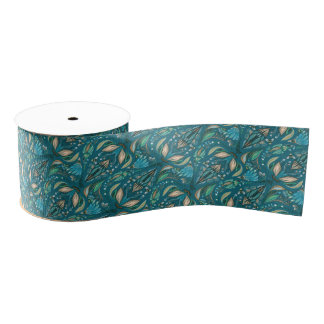 Elegant wedding floral rustic beautiful pattern grosgrain ribbon