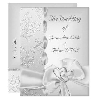 Elegant Wedding Floral Silver White Bow Hearts Card