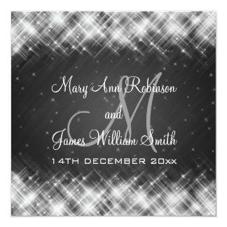 "Elegant Wedding Glamorous Sparks Black 5.25"" Square Invitation Card"