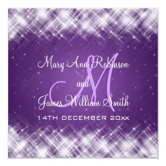 "Elegant Wedding Glamorous Sparks Purple 5.25"" Square Invitation Card"