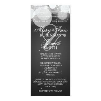 "Elegant Wedding Glow & Sparkle Black 4"" X 9.25"" Invitation Card"