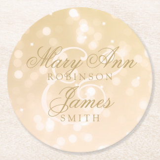 Elegant Wedding Gold Bokeh Sparkle Lights Round Paper Coaster