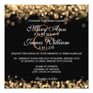 "Elegant Wedding Gold Lights 5.25"" Square Invitation Card"