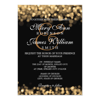 Elegant Wedding Gold Lights Card