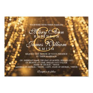 "Elegant Wedding Gold String Lights 5"" X 7"" Invitation Card"
