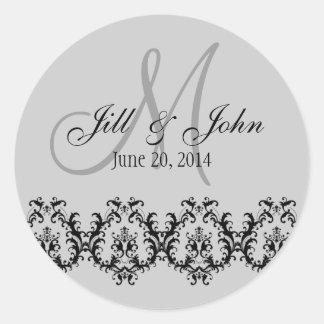 Elegant Wedding Grey Monogram Save the Date Round Sticker