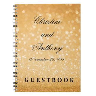 Elegant Wedding Guest Book Glitter Bokeh Lights Spiral Note Book