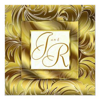 Elegant Wedding Invitation Leaf Floral Gold