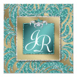 """Elegant Wedding Invite Leaf Floral Teal Sparkle 5.25"""" Square Invitation Card"""