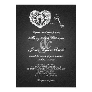 "Elegant Wedding Key To My Heart Black 5"" X 7"" Invitation Card"