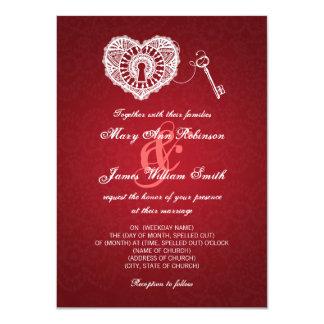 "Elegant Wedding Key To My Heart Red 4.5"" X 6.25"" Invitation Card"