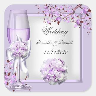 Elegant Wedding Lavender Purple Lilac 4 Square Sticker