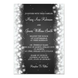 "Elegant Wedding Magic Sparkle Black 5"" X 7"" Invitation Card"