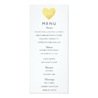 Elegant Wedding Menu heart initials Card
