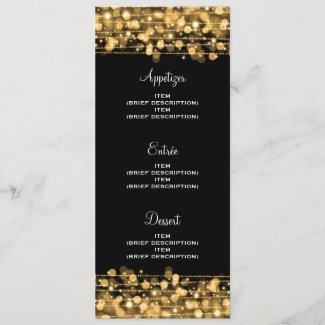 Elegant Wedding Menu Party Sparkles Gold
