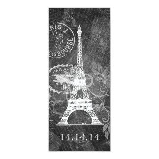 Elegant Wedding Menu Romantic Paris Black Card