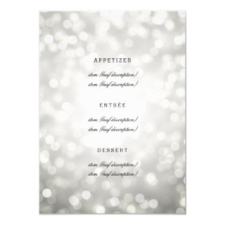 "Elegant Wedding Menu Silver Glitter Lights 4.5"" X 6.25"" Invitation Card"