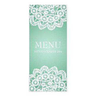 "Elegant Wedding Menu  Vintage Lace Mint Green 4"" X 9.25"" Invitation Card"