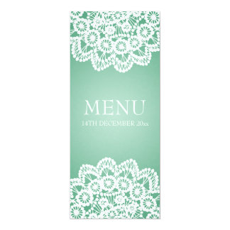 Elegant Wedding Menu  Vintage Lace Mint Green Card