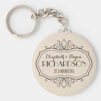 Elegant Wedding Monogram Choose Your Own Color Hue Basic Round Button Keychain