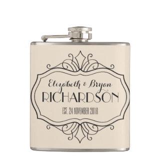 Elegant Wedding Monogram Choose Your Own Color Hue Flasks