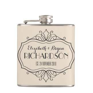 Elegant Wedding Monogram Choose Your Own Color Hue Hip Flask