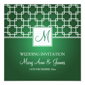 Elegant Wedding Monogram Trellis Pattern Green Card