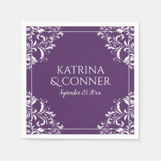 Elegant Wedding Napkins | Nadine (Plum / Purple) 2