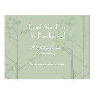 Elegant Wedding Newlyweds Green Tree Art Postcard