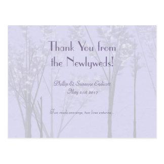 Elegant Wedding Newlyweds Lavender Tree Art Postcard