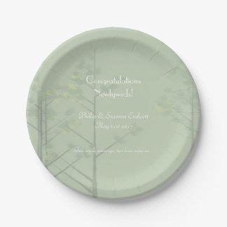 Elegant Wedding Newlyweds Sage Green Tree Art Paper Plate
