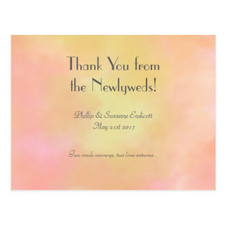 Elegant Wedding Newlyweds Yellow Pink Watercolor Postcard