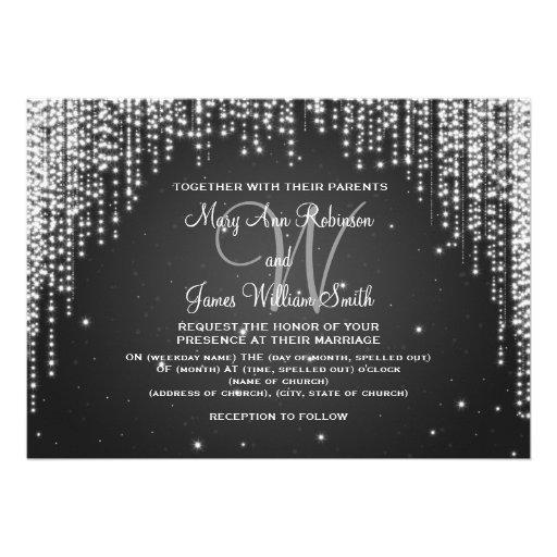 Elegant Wedding Night Dazzle Black Personalized Invite