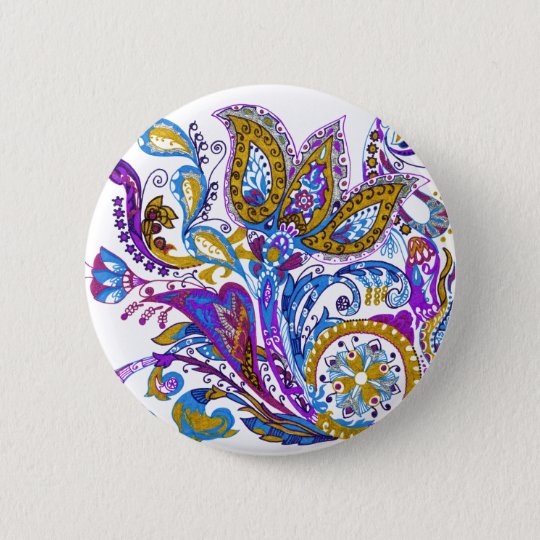 Elegant wedding ornament. Stylish paisley design 2 Inch Round Button