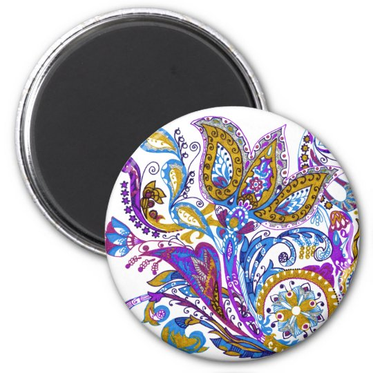 Elegant wedding ornament. Stylish paisley design 2 Inch Round Magnet