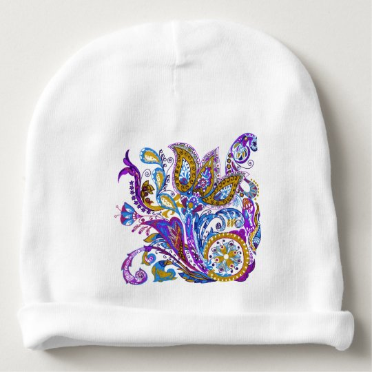 Elegant wedding ornament. Stylish paisley design Baby Beanie