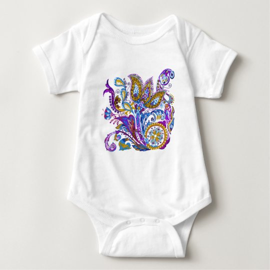 Elegant wedding ornament. Stylish paisley design Baby Bodysuit