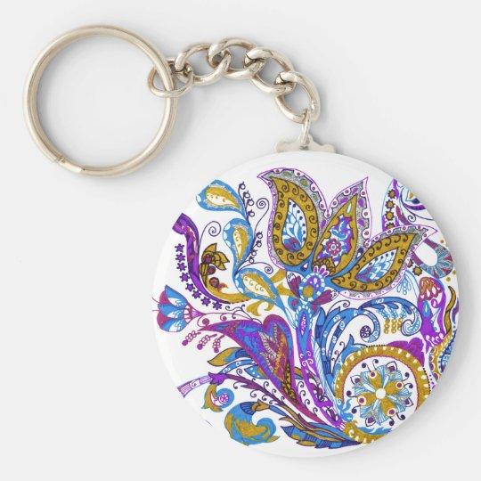 Elegant wedding ornament. Stylish paisley design Basic Round Button Keychain